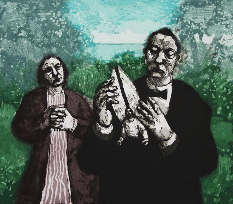 Karólína Lárusdóttir , 'Man with Angel in His Pocket', 20 x 23cm, etching and aquatint (Courtesy The Castle Gallery)