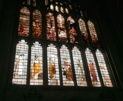 Thomas Jervais ' West Window of the Chapel,  New College Oxford , designed after oil cartoon by Sir Joshua Reynolds. 1785.