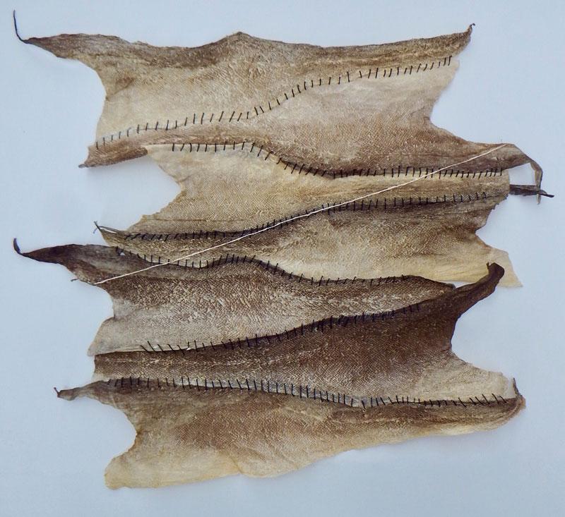 Vivian Ross-Smith ,  Goddamn Water , 2017. Shetland cod skin with hand stitching.