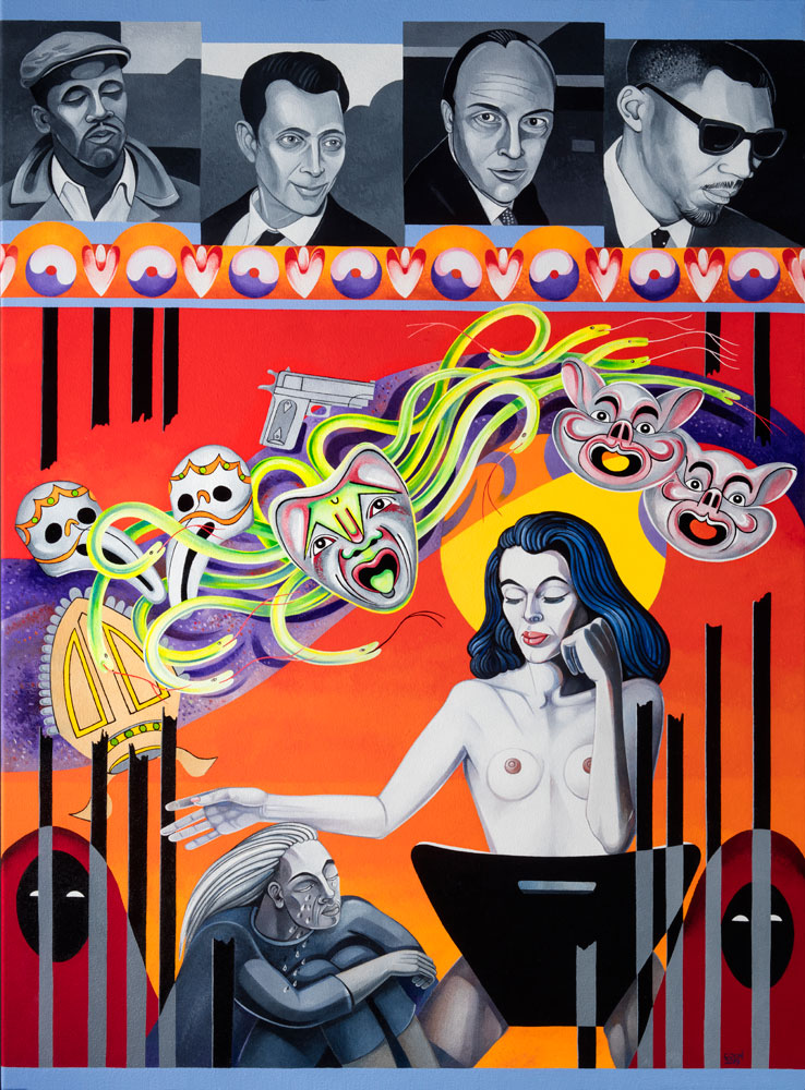 Caroline Coon ,  Christine Keeler: Anger, Blame, Shame, Ruin, Grief , 2019, oil on canvas, 122 x 92 cm. Image credit: Howard Woodruff.
