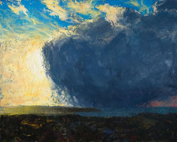 Allan MacDonald ,  yellow blue red , 2019, oil on canvas, 122cm x 152cm