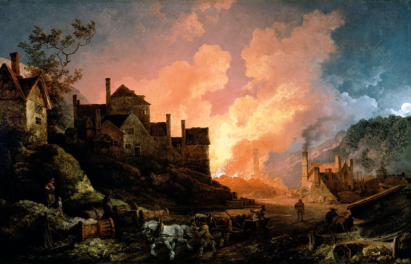 Philip James de Loutherbourg ,  Coalbrookdale by Night,      1801, oil on canvas, 68 cm x 106.5 cm