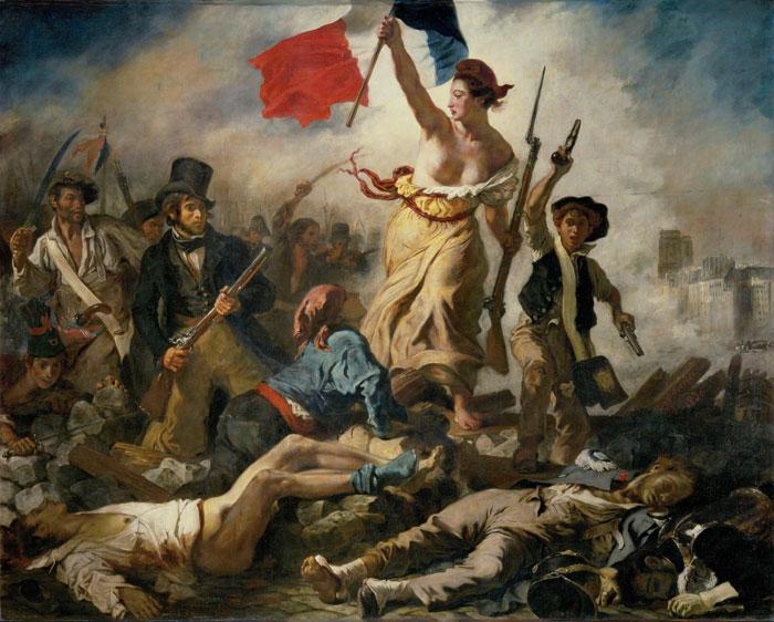 Eugène Delacroix ,  La Liberté guidant le peuple   (Liberty Leading the People) , 1830, oil on canvas.