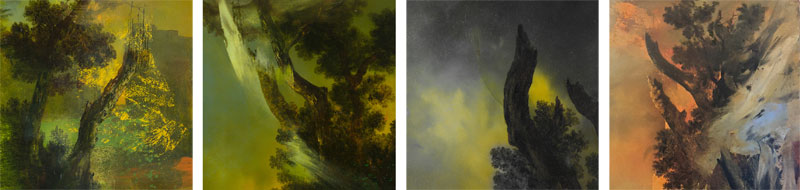 Details from  Untitled Painting XXVI (Bodiam) ;  Fairlight from the Watermeadows V ;  It's Not Dark Yet, XI ; and  Mothland 12 .