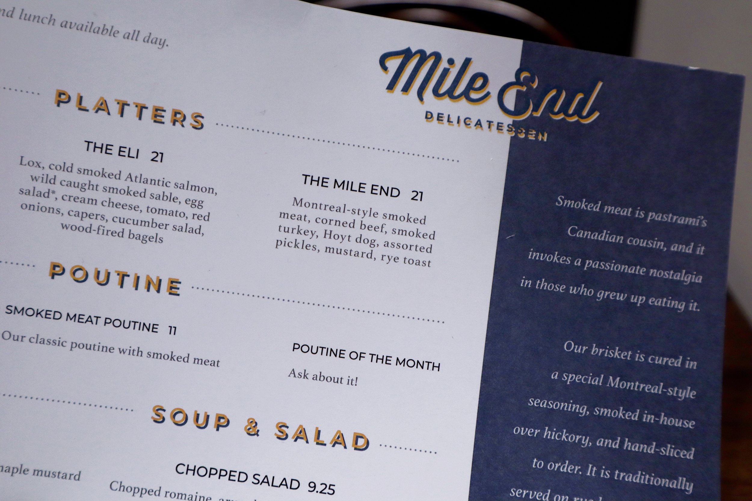 Mile End Deli Menu