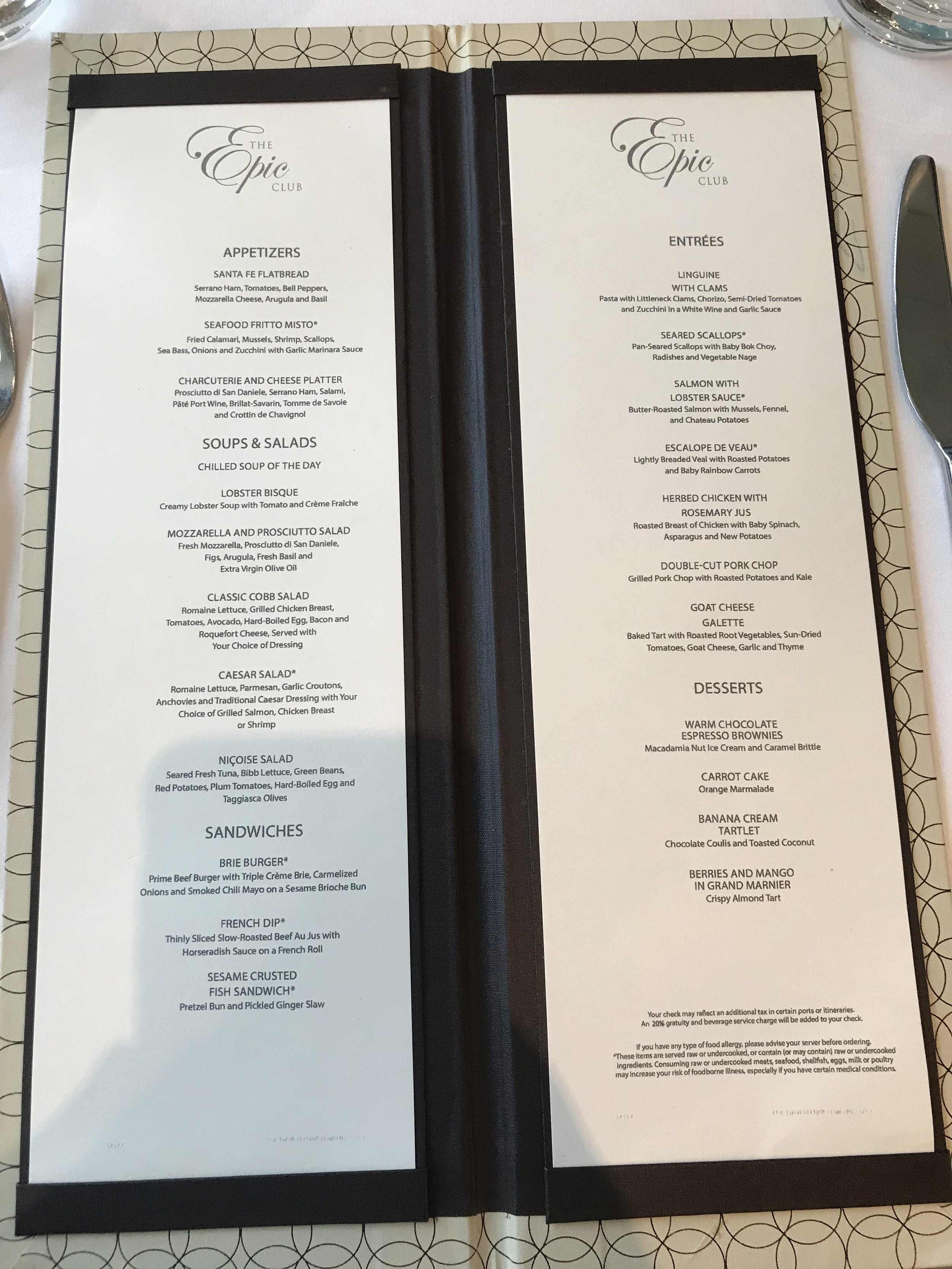 Epic Lounge Embarkation Lunch Menu