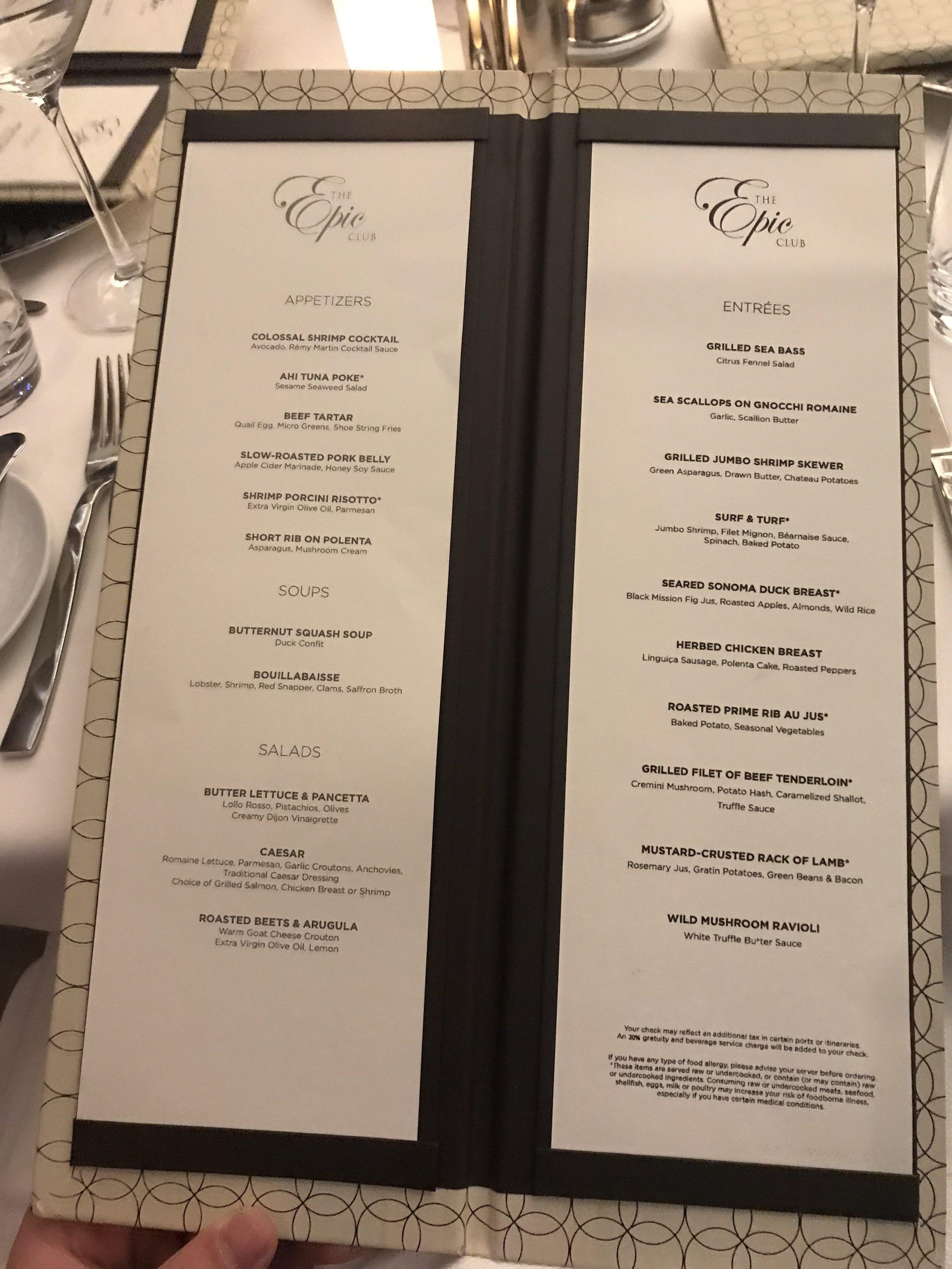 Epic Club dinner menu