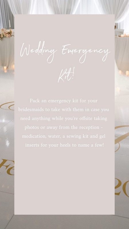 Wedding Tip 1 – Have a Wedding Emergency Kit!  Big or small, make sure to pack a kit for all the 'just in case' scenarios that may occur on the day. These things tend to happen and it's totally okay, just make sure you're prepared for them!