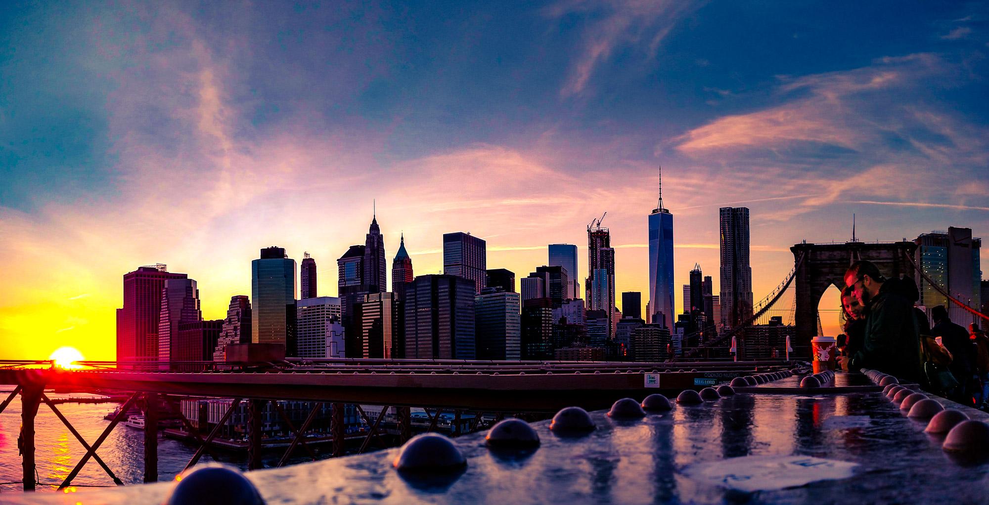 New York Sunset Skyline / / From the Brooklyn Bridge