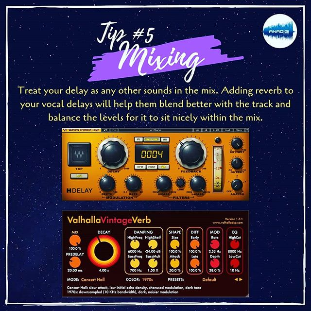 """Mixing tip of the day: Delays . Treat Delays as an element of sound in your mix instead of just seeing it as another effect. Add Reverb or approach processing them as an additional """"instrument"""" to better blend it with your mix. . Have a great week ahead! Happy mixing~ 🎶🔊😊 . #anadigisoundlab #rafsoundwalker #mixing #mastering #recording #production #studio #songwriter #logicprox #protools #cubase #flstudio #ableton #beatmaker #mixingtips #masteringtips #recordingtips #productiontips #music #audioengineer #mixingengineer #recordingengineer #musicdiscovery #musicproducer #musicproduction #singersongwriter #homestudio #audiotips"""