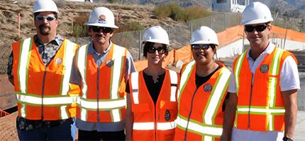 Sara Agahi, center, with, left to right, Matt Schmid, Anthony Barry, Gitanjali Shinde, Greg Carlton.