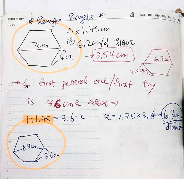 Hexagon bangle formula note