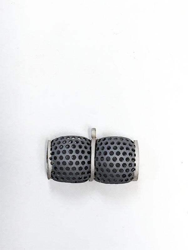 Sandblasted pendant . mild steel & silver