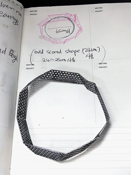 On my diary showing the bangle and the circle