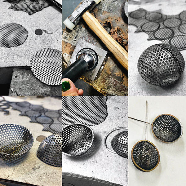 Process of making perforated mild steel oval earrings with silver rim.