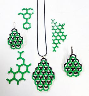 Green & Black earrings and pendants.