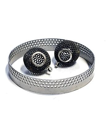 Round bangle with 2 pendants.