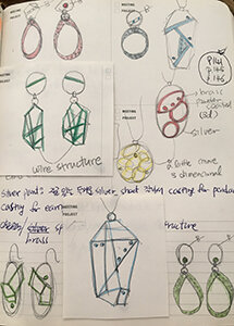 Some sketches for new earrings and pendants.