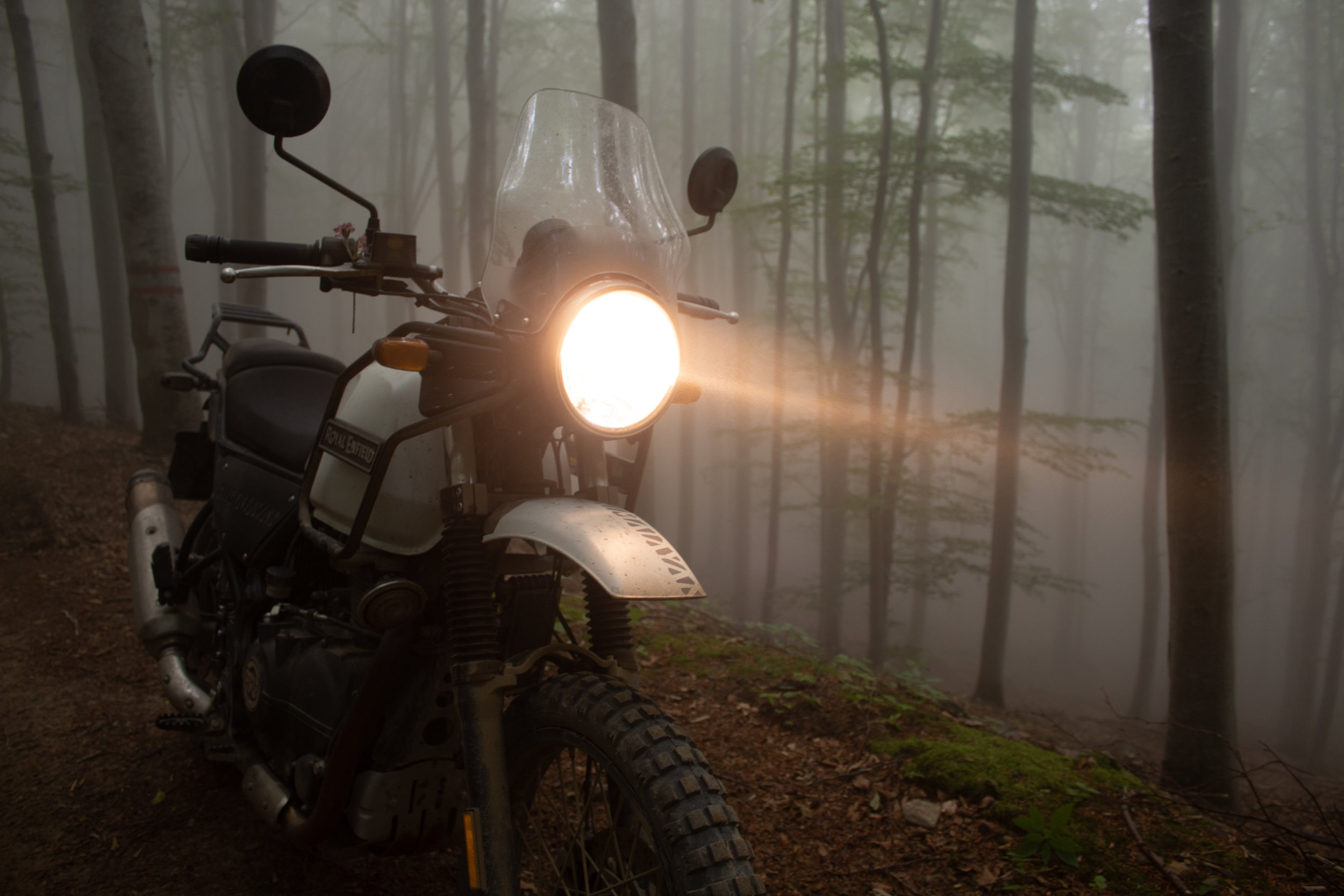 Royal Enfield Himalayan has great lights to cut through the fog