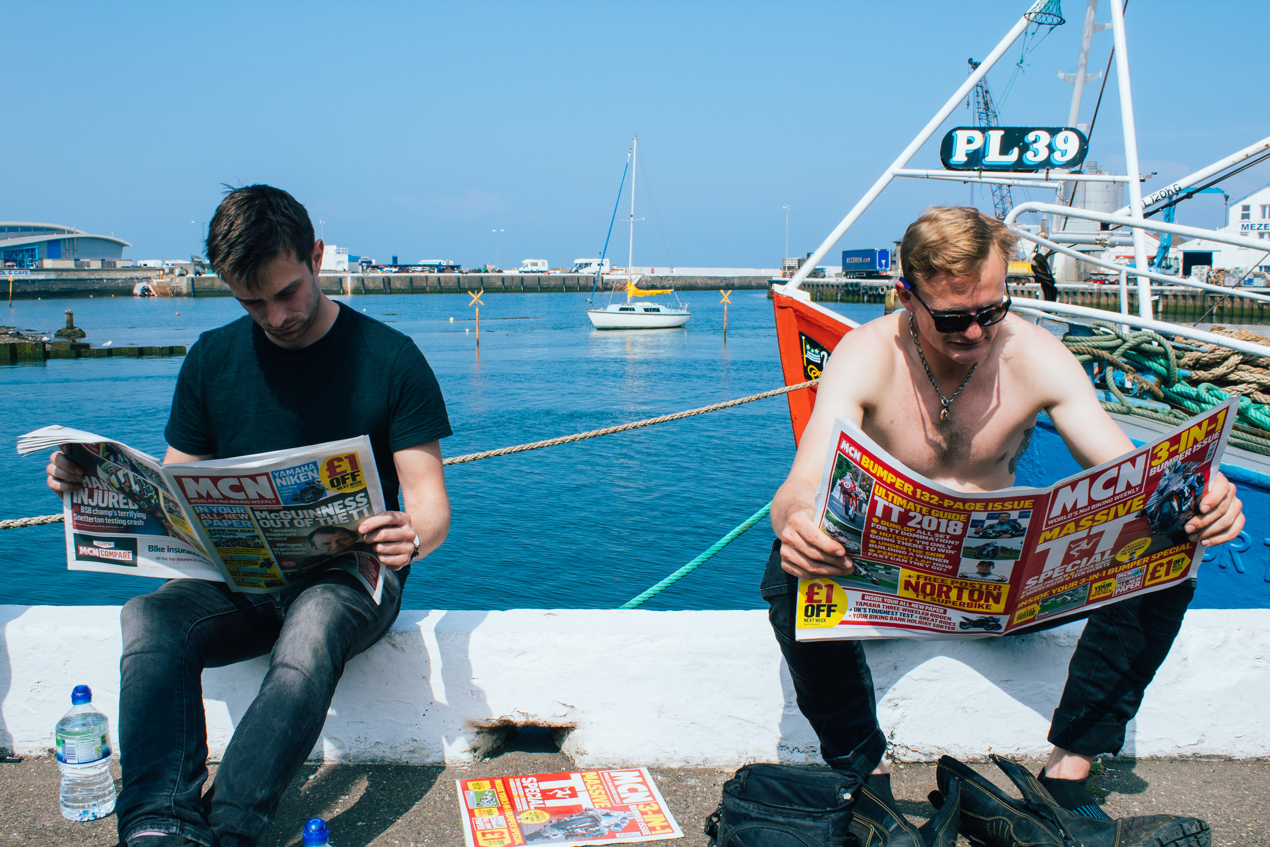 Catching up on the TT gossip in Ramsey Harbour