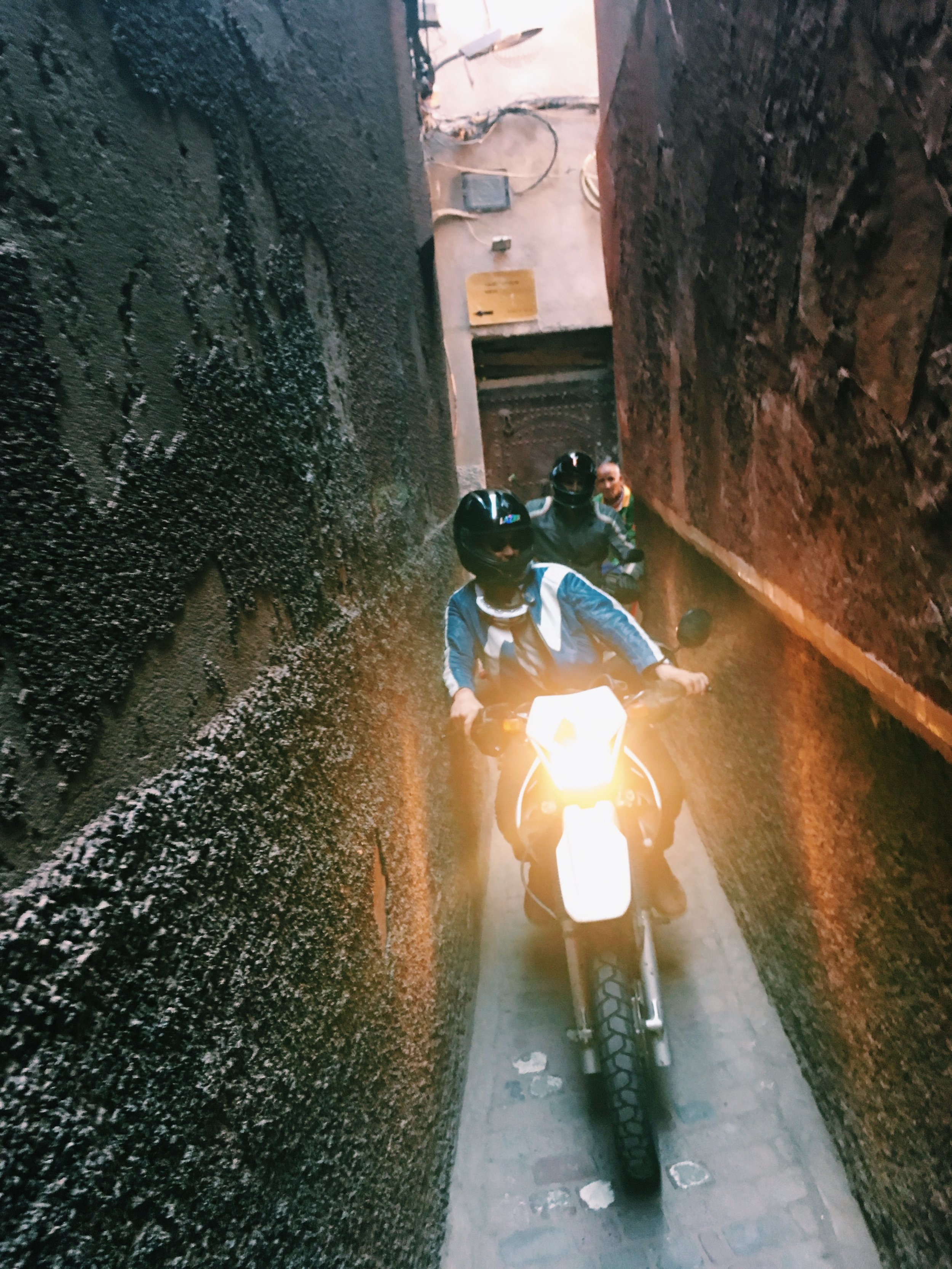 Trying to find our hostel in Marrakesh led us down some pretty narrow backstreets.