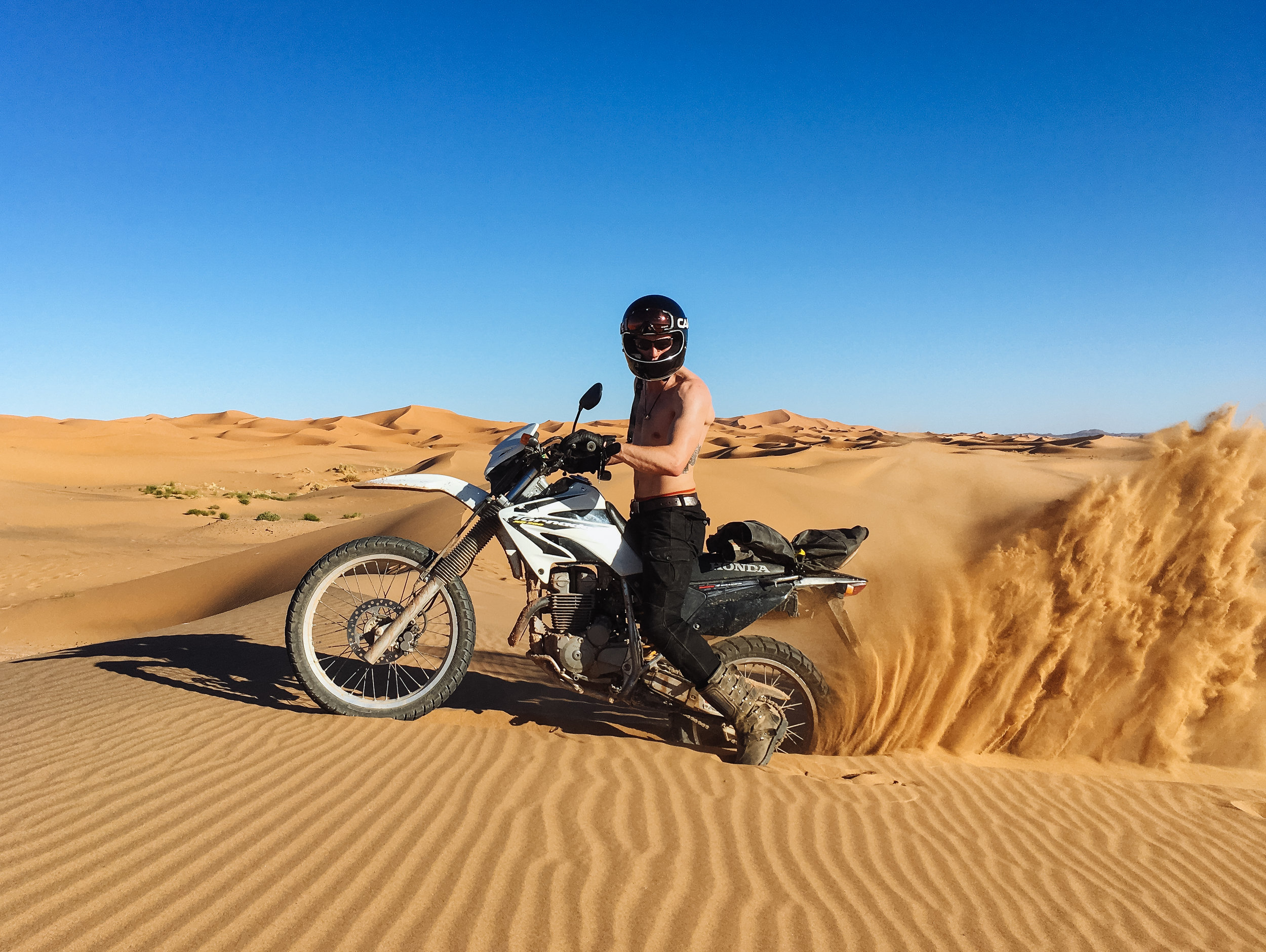 Putting the XR250s to the test in the dunes of the Sahara
