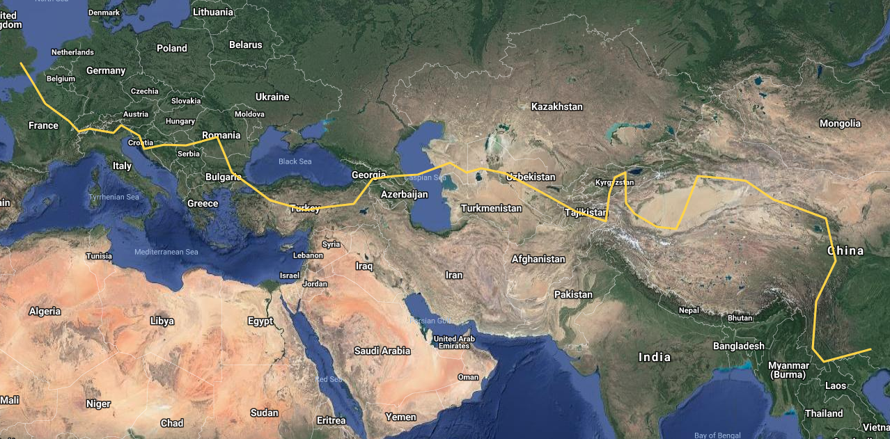 Our route. We initially planned to go through Turkmenistan, but we couldn't get a Visa at the right time so we had to skip it out.