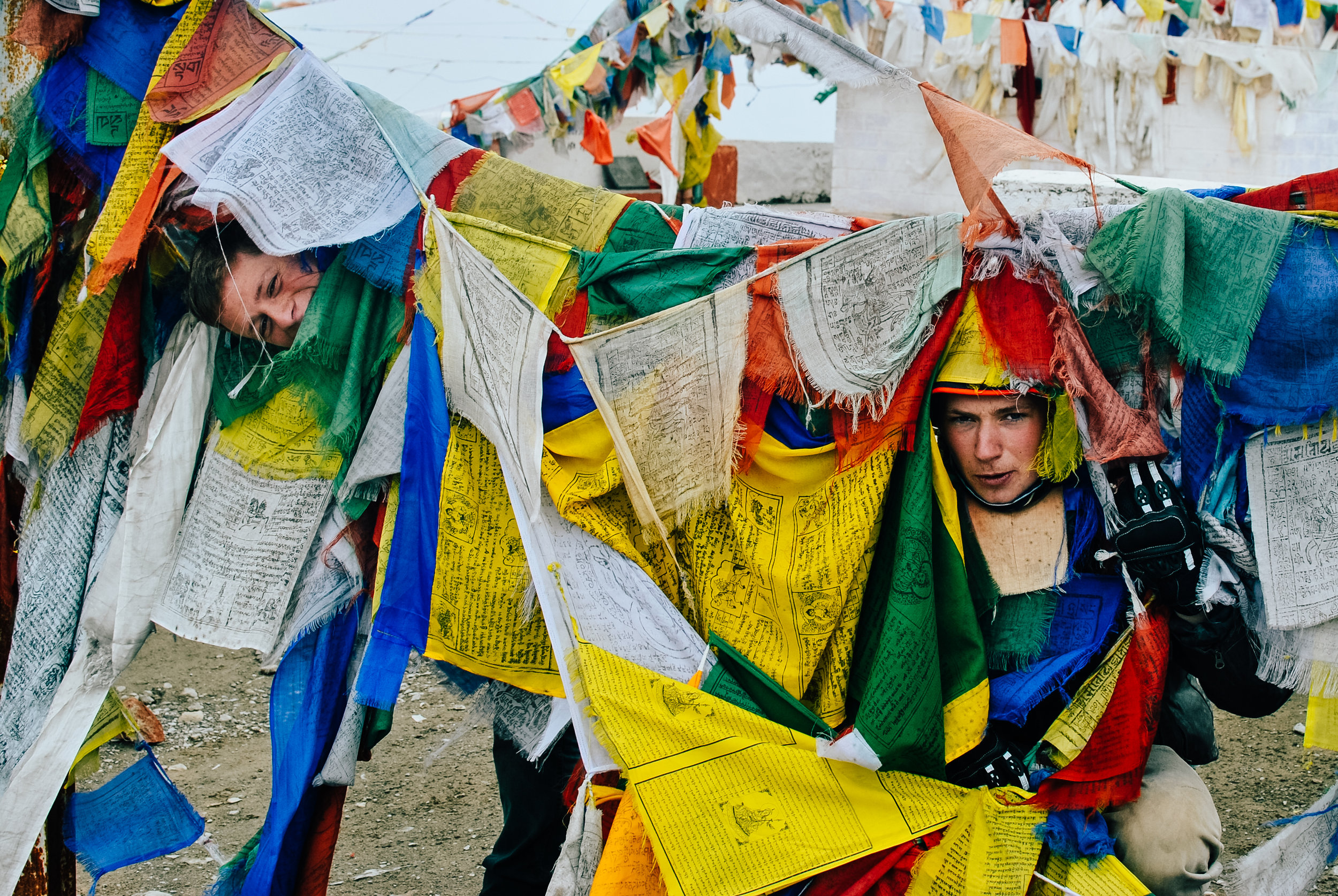 Buddhist prayer flags everywhere