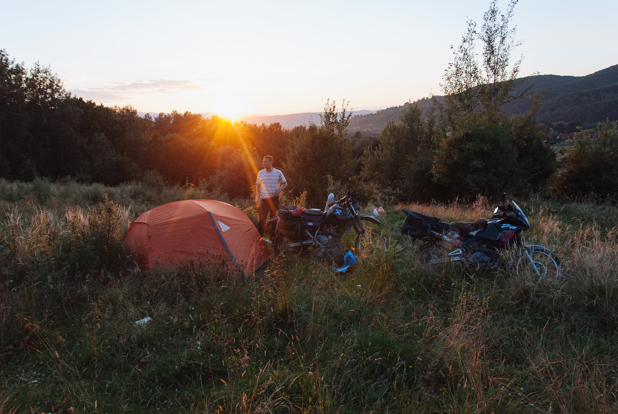 Sunset over our camp spot in the south of Romania