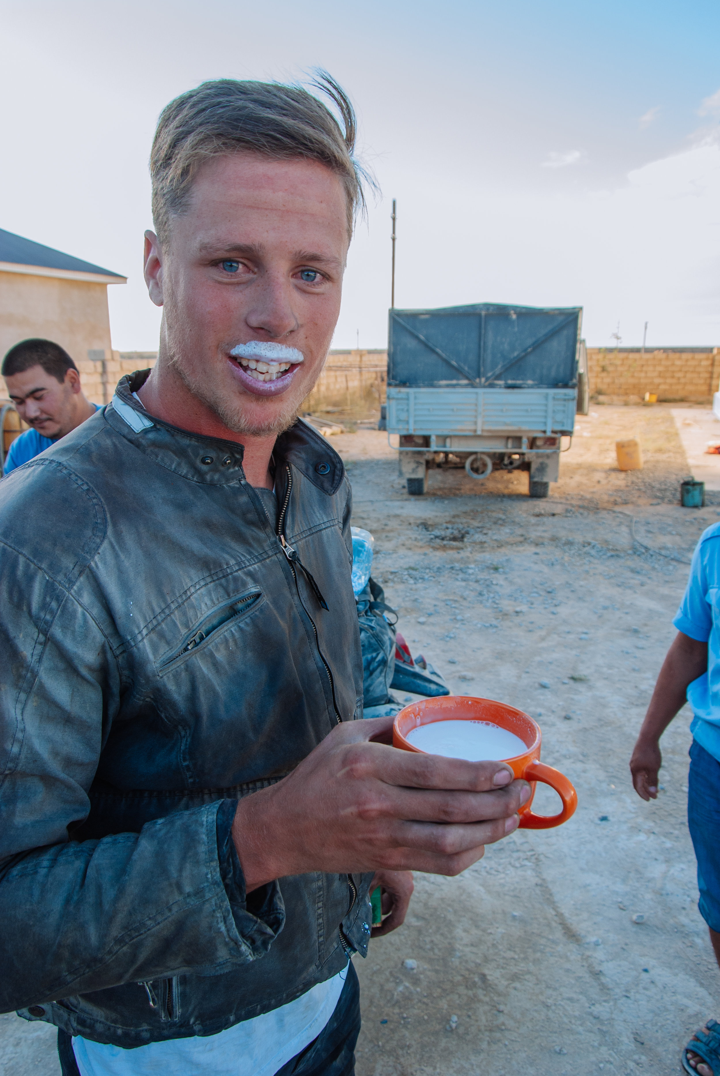 Dave tucking into some camel milk
