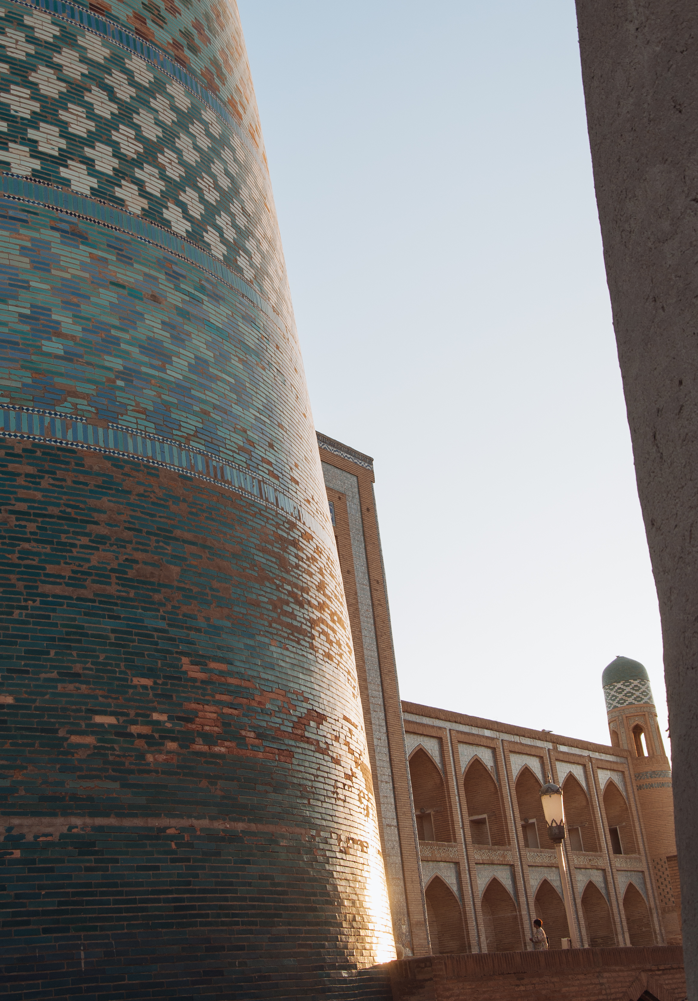 The famous mosaic tower of Khiva