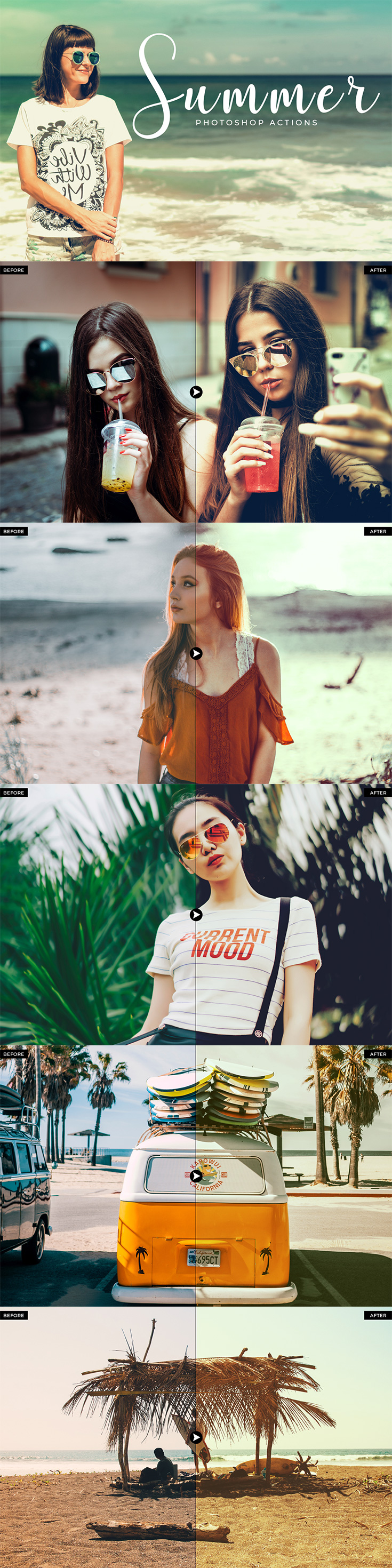 50 Free Summer #Photoshop #Actions are specially design to enhance the quality of summer photographs.