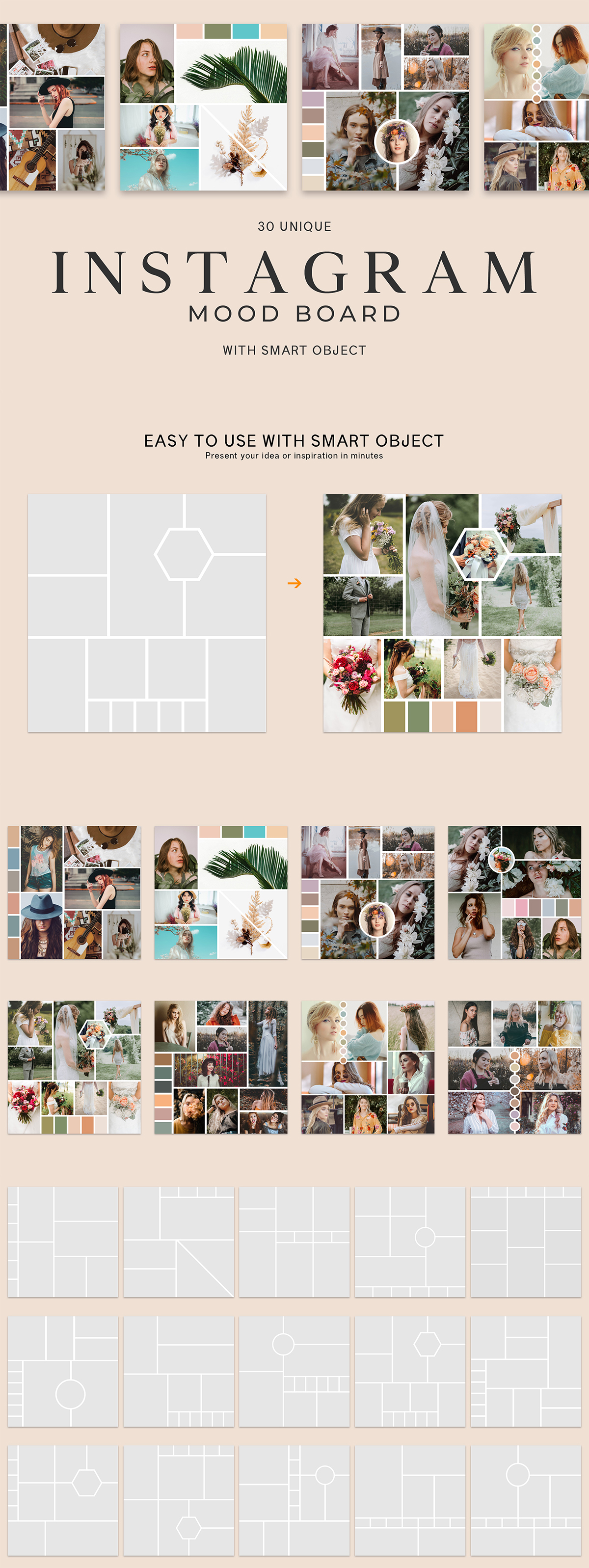 30 Free #Instagram #MoodBoard #Templates is a fully customisable PSD templates.