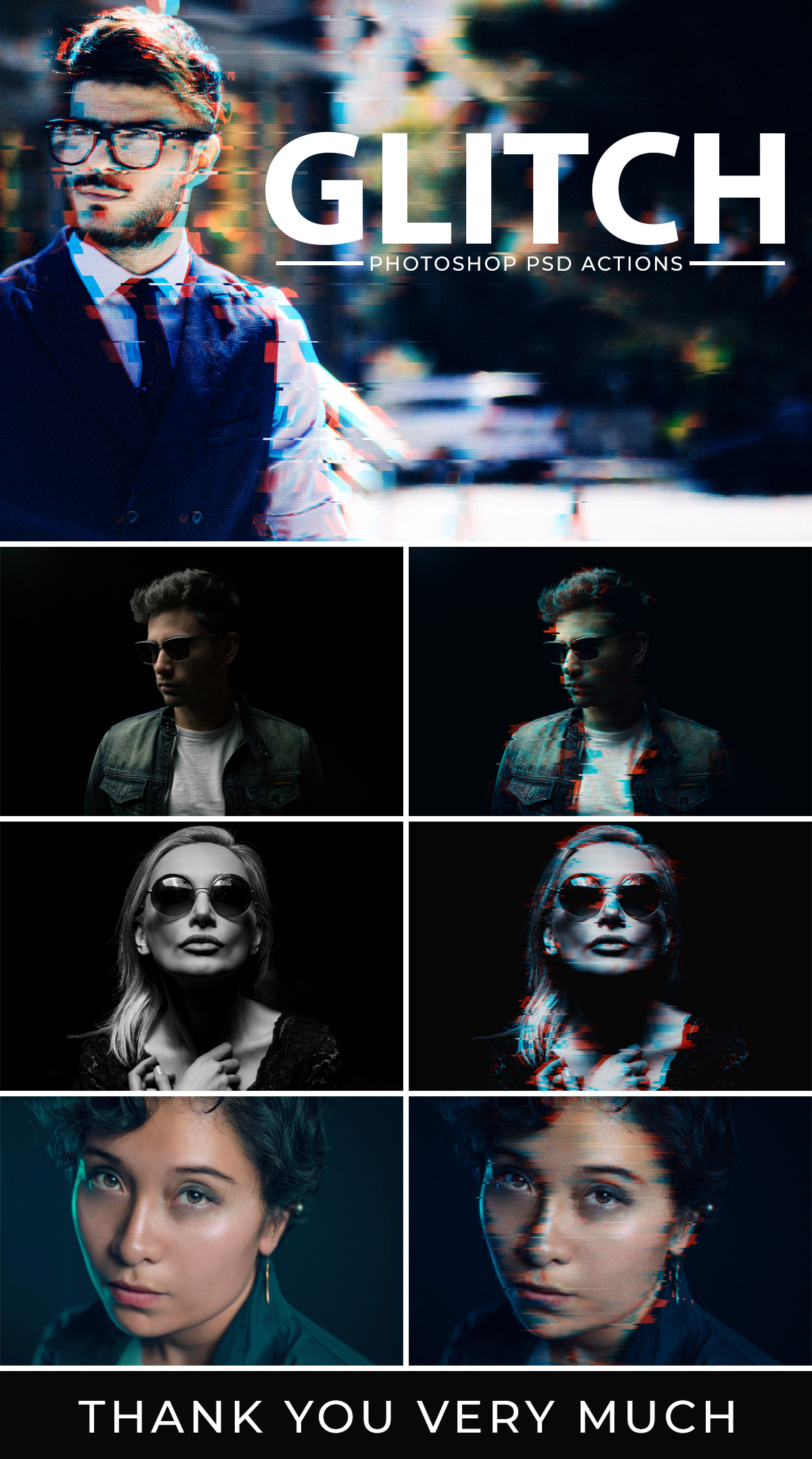 Free #Glitch Effect & Vhs Effect #Photoshop Template PSD
