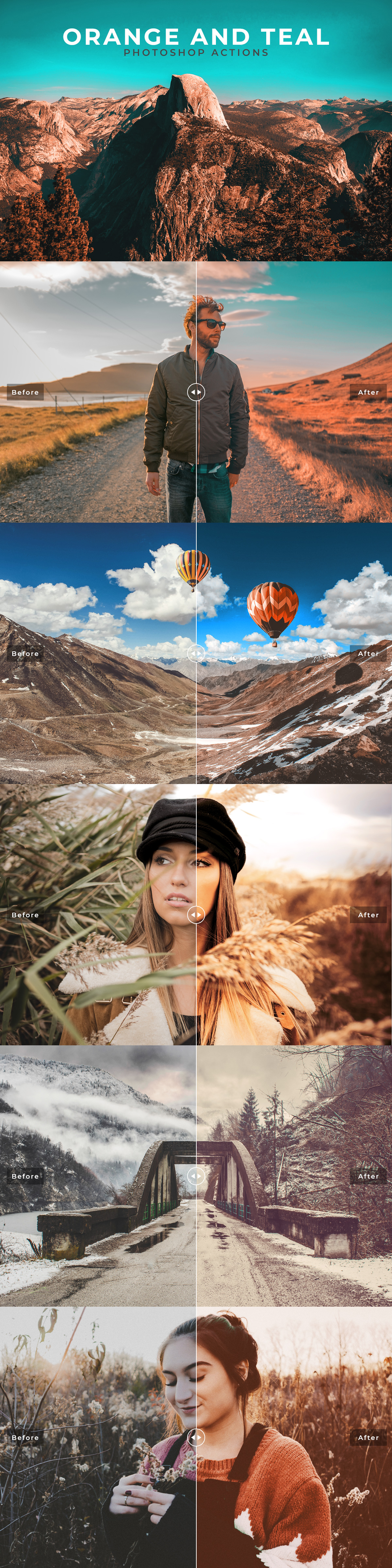 Free #Orange and #Teal Photoshop #Actions are created for professional photographers and designers.
