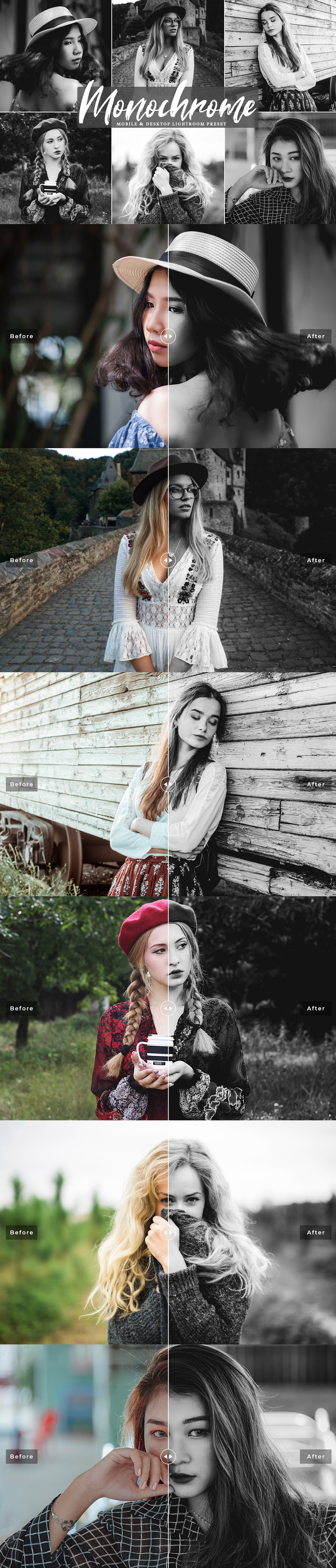 Free #Monochrome #Lightroom #Preset was handcraft to add rich tone & cozy warm style into your photographs just in single click!