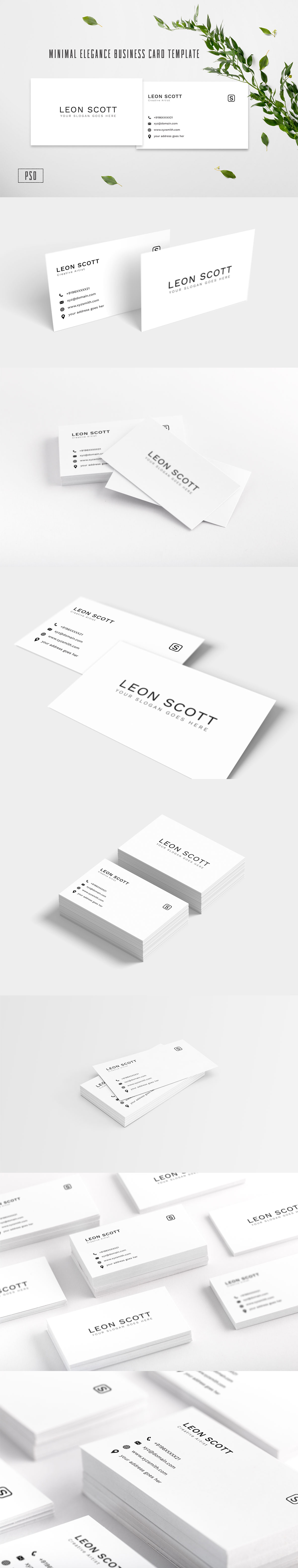 Free Minimal #Elegance #Business #Card Template is a clean yet simple black and white minimalist style business card template. It includes 2 PSD files with built-in smart object feature in CMYK color mode at 300 DPI resolution.