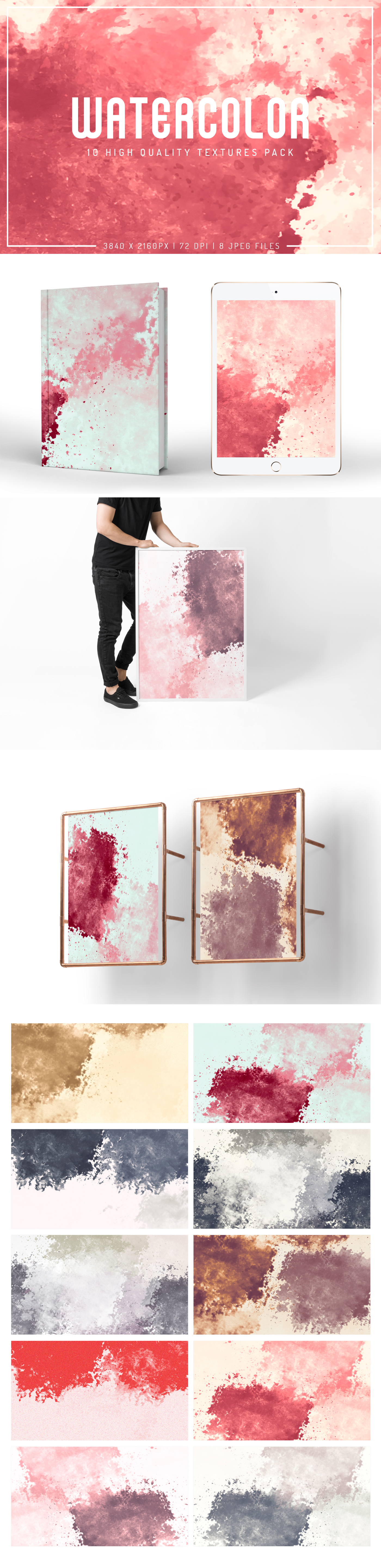 #Watercolor Free #Textures #Pack is a beautiful pack of watercolor texture for trendy and elegant design lovers! It is available in JPG file format in 3840x2160px resolution.