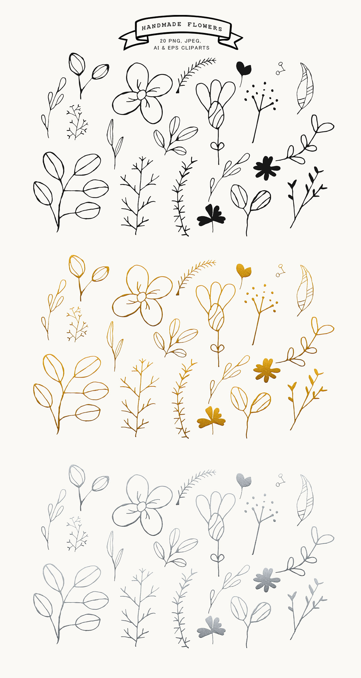 #Handmade #Flowers Free #Cliparts is a set of 20 beautifully handmade cliparts. This set was design in B&W, Silver and Golden Versions.