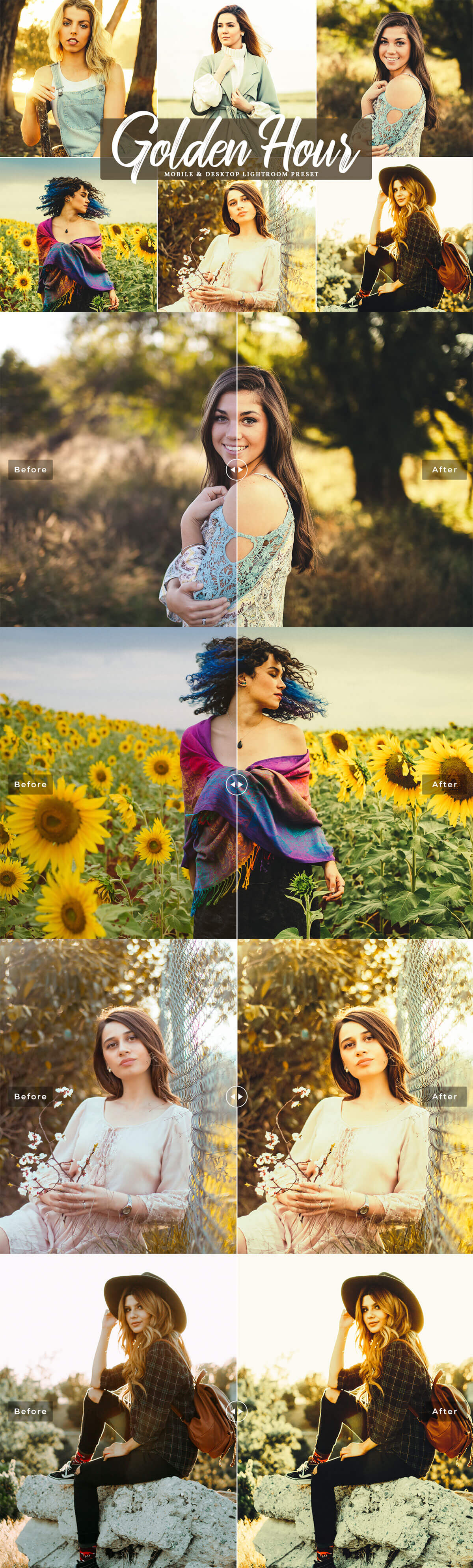 #Golden Hour Mobile & Desktop Free #Lightroom #Presetis  a professional filter which will add a bright, warm glow to your into  your photographs in a single click!.