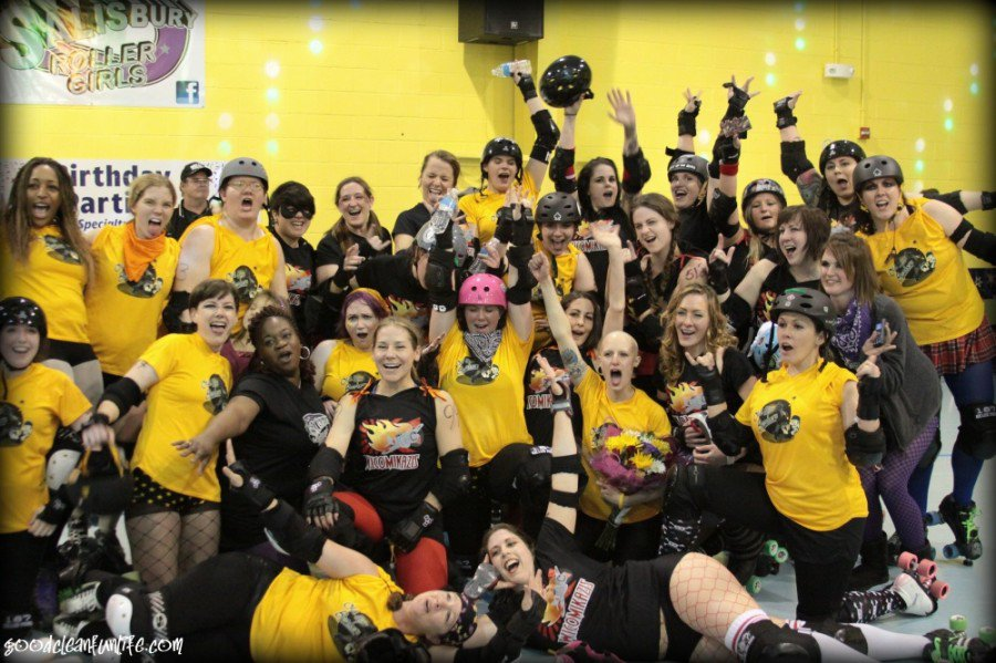 Photo from our very first bout on March 20th, 2011, an intraleague mixer: Old Bay Bombers-154 vs Wicomikazis-103