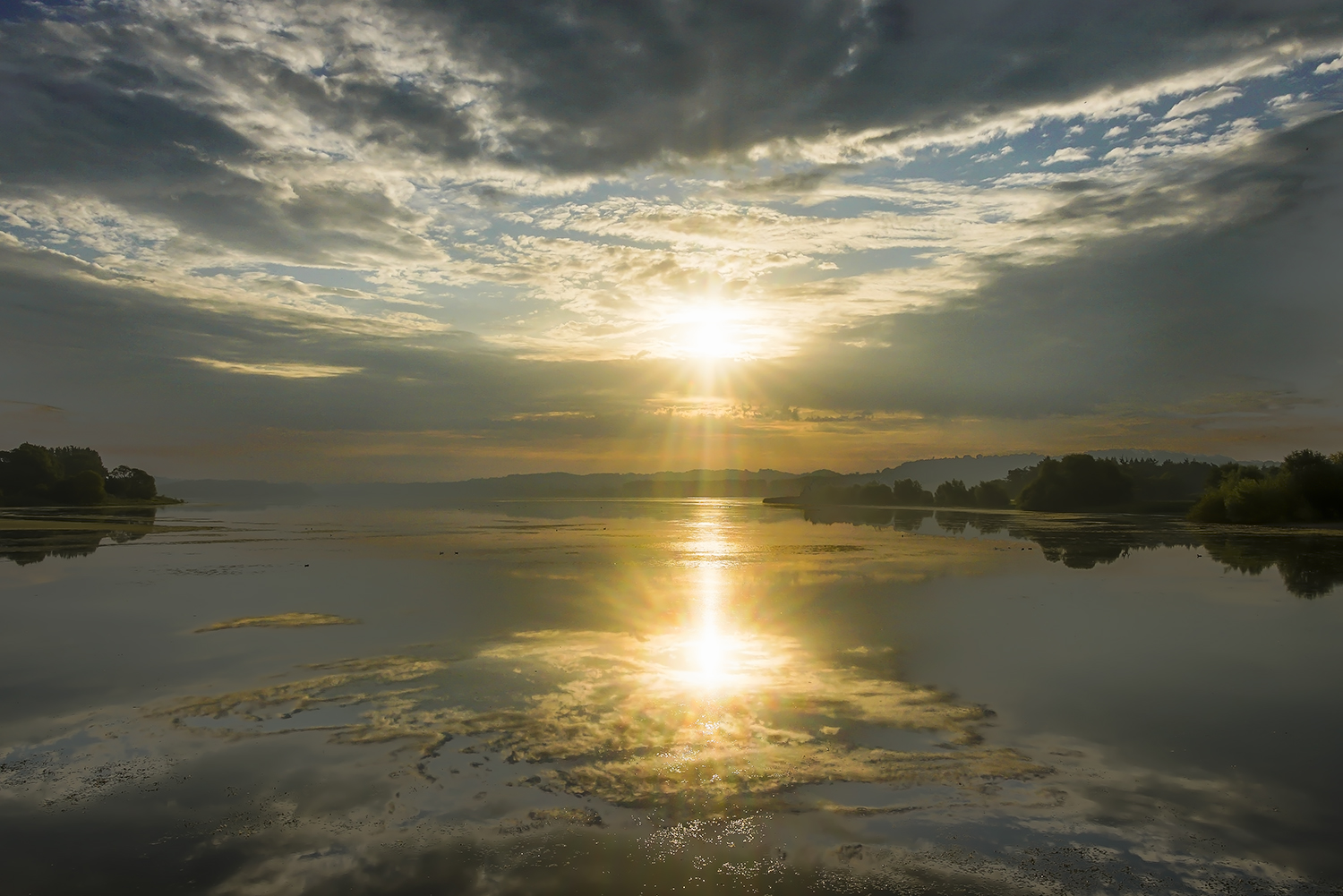 Sunrise with reflections on Chew Valley Lake