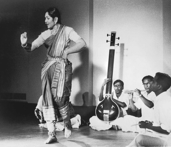 Balasaraswati, in an undated photograph (Photograph from Jacob's Pillow Dance Festival Archives, Becket, Massachusetts) •
