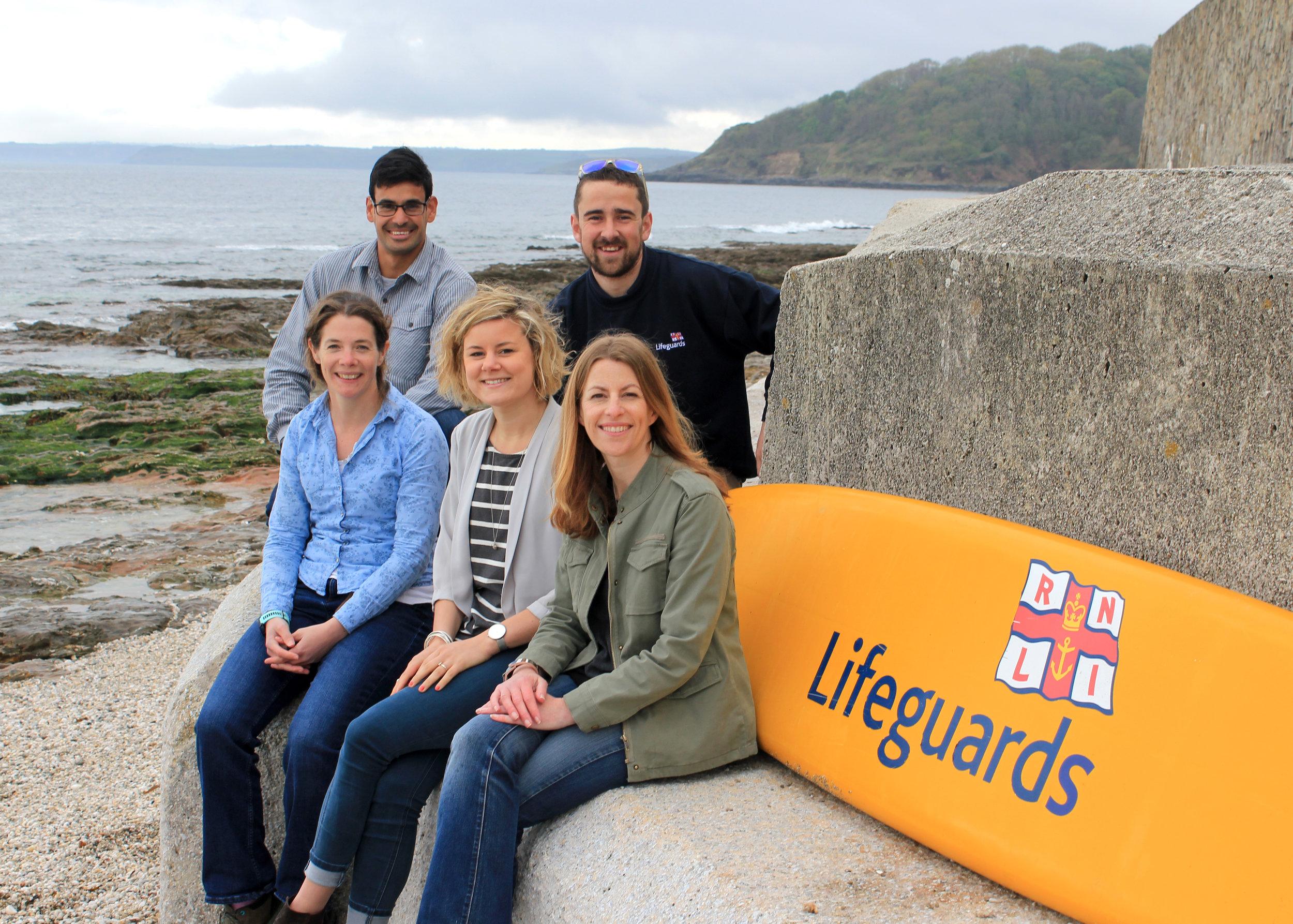 Team members from top left to bottom right: Matthew Stone, Adam Harris (RNLI Lifeguard Supervisor), Amy Sergison, Bethia Naughton-Rumbo and Kathryn Woolf.