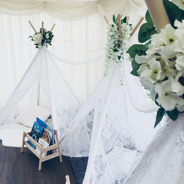 We were so pleased to set up our beautiful lace teepees for the lovely Grace @elmsbarnweddings Kitted out with rugs, cushions and a selection of games & books it gave the little guests a gorgeous spot to play the day away 💖 . . . #livelaughlovelace #laceteepee #teepee #tipi #weddingteepee #weddingtipi #luxurywedding #kidsatwedding #childrenatwedding #weddingentertainment #somethingforthekids #weddingideas #creativewedding #essexwedding
