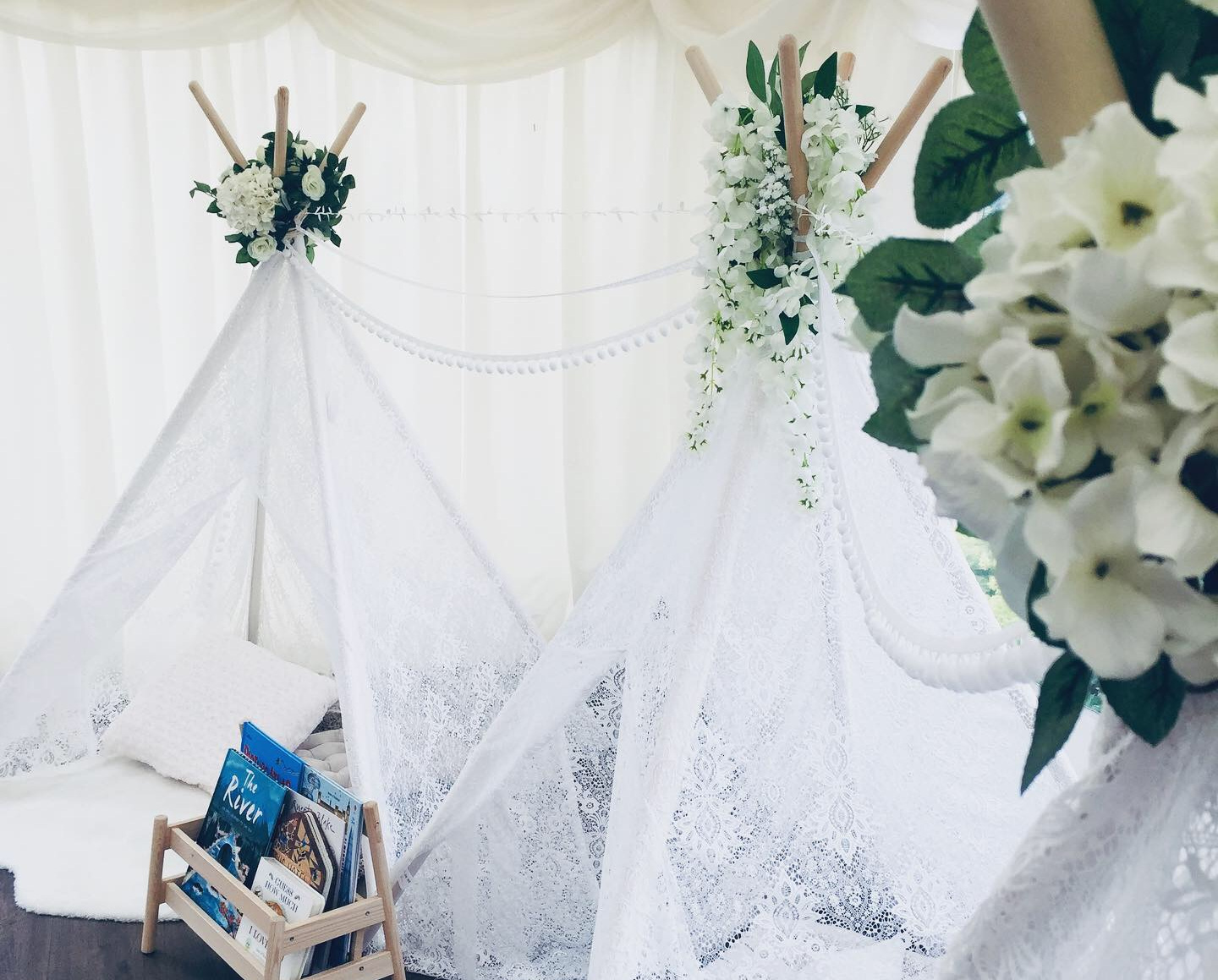 Luxury Lace… - Add a snug hideaway to give your little guests a beautiful place to play and rest. Our lace teepees are a stunning addition to any event and are beautifully decorated in neutral tones. Cosy cushions, plush rugs and soft throws even give them a space to take a little nap after a busy day celebrating!