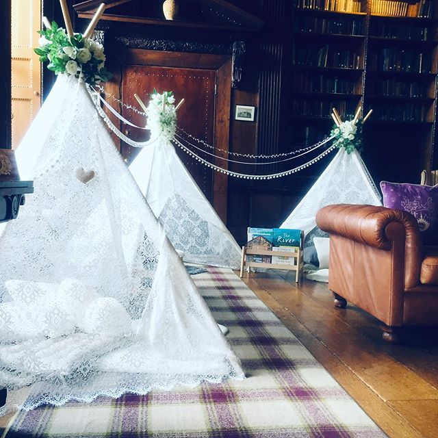 It was a busy weekend here at Cogs & Sprogs, starting off with Charlotte & Dan's stunning wedding at @gosfieldhallweddingvenue The teepees looked gorgeous set up in The Grand Salon and we hope you all had fun! The delicate lace was such a contrast with the beautiful dark wood in the Library, loving this up ❤️ Congratulations Mr & Mrs M! xx