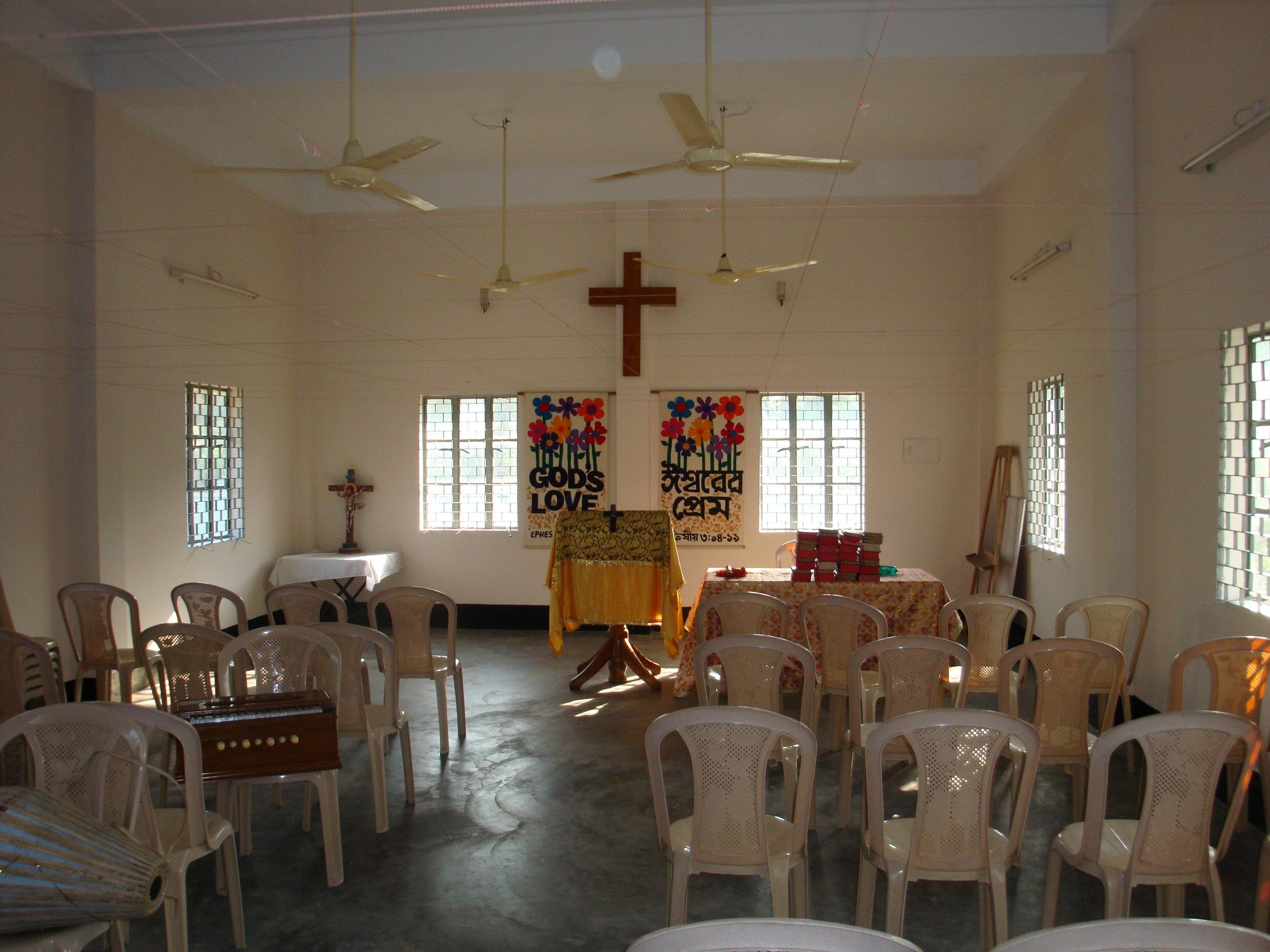 Christian families worship at LHCB's Church of Dumki