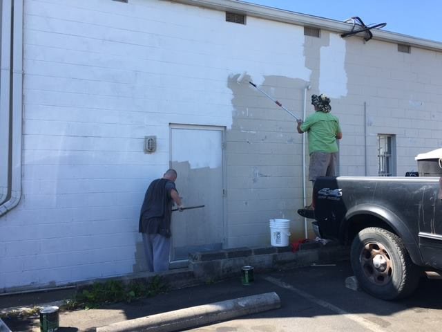 Prepping the Wall for the Mural