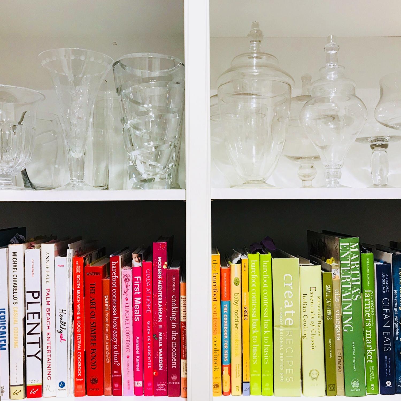 colorful cookbooks & vases